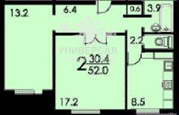 Продам двухкомнатную квартиру, 6/9 эт., 3 100 000 руб., коро.